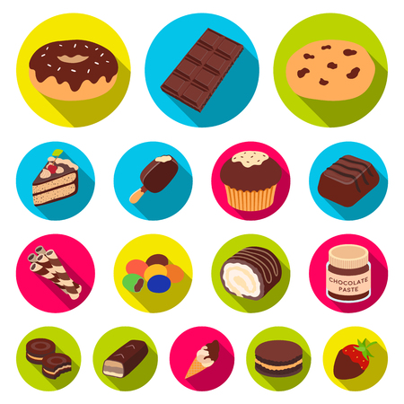 Chocolate Dessert flat icons in set collection for design.