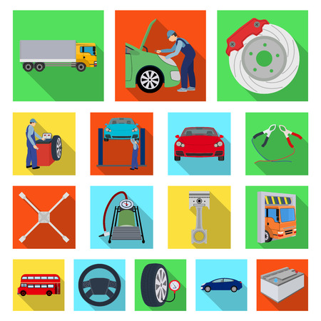Car, lift, pump and other equipment flat icons in set collection for design.
