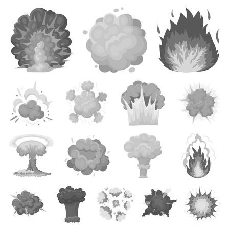 Different explosions monochrome icons in set collection for design.Flash and flame vector symbol stock  illustration. Vettoriali