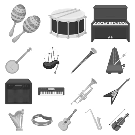 Musical instrument  icons in set collection for design.