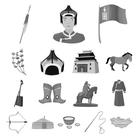 Country Mongolia monochrome icons in set collection for design.