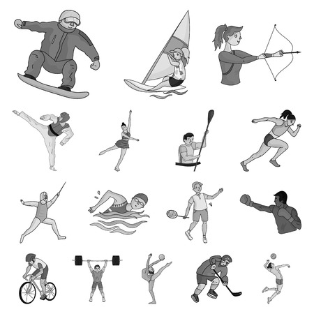 Different kinds of sports monochrome icons in set collection for design. Athlete, competitions vector symbol stock  illustration.