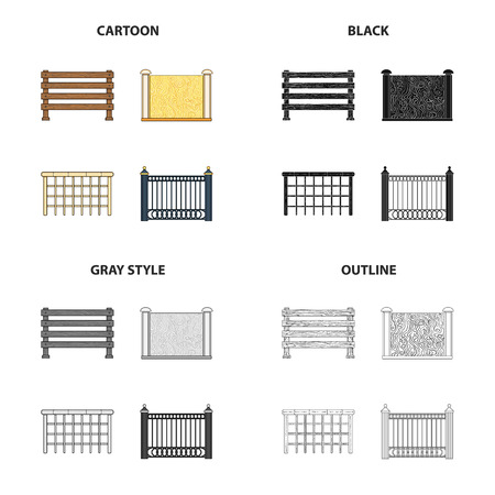 Fence, post, pillar, and other  icon in cartoon style.Stone, granite, palisade, icons in set collection. Illustration