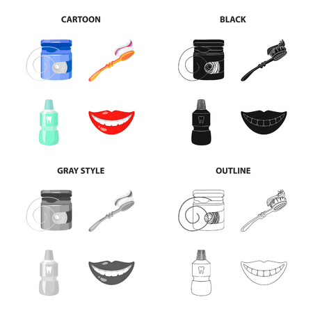 Dental care set collection icons in cartoon black outline style.