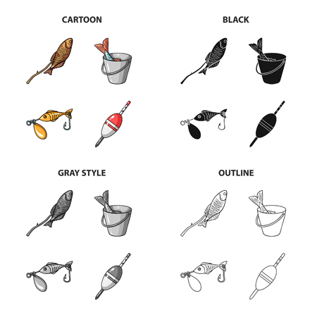 Fishing set collection icons in cartoon black outline style.