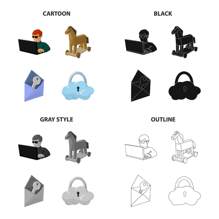 Hacker and computer icons.