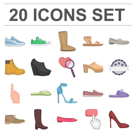 A variety of shoes cartoon icons in set collection for design.