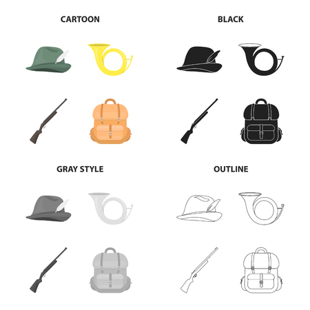 Hunters hat, signal horn, hunting rifle, backpack with things. Hunting set collection icons in cartoon black monochrome outline style vector symbol stock illustration web. Vettoriali