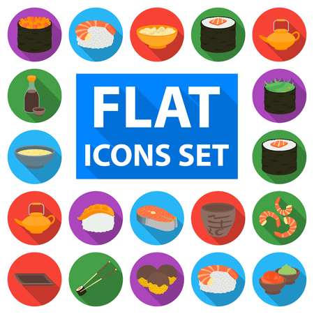 Sushi and seasoning flat icons in set collection for design. Seafood food, accessory vector symbol stock web illustration.