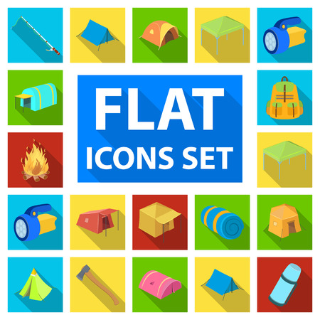 Different kinds of tents flat icons in set collection for design. Temporary shelter and housing symbol stock web illustration. Иллюстрация