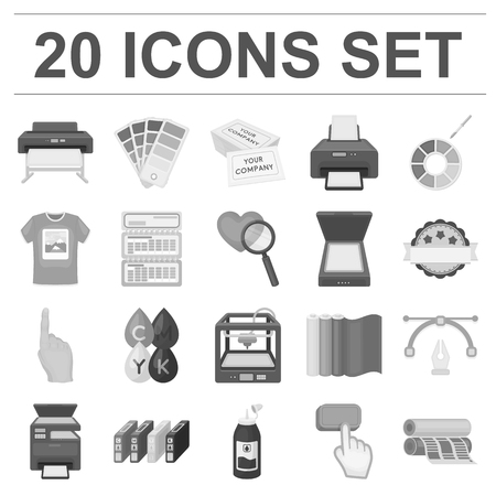Typographical products monochrome icons in set collection for design. Printing and equipment symbol stock web illustration.