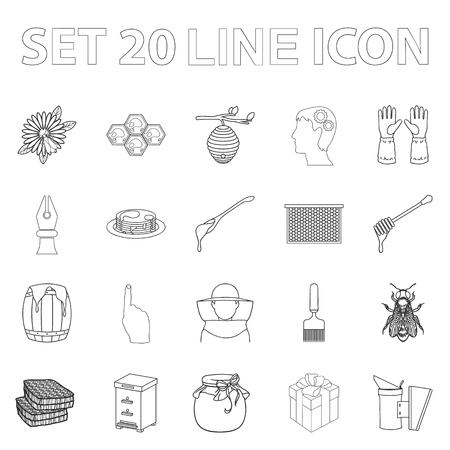 Apiary and beekeeping outline icons in set collection for design.Equipment and production of honey symbol stock web illustration. Illustration