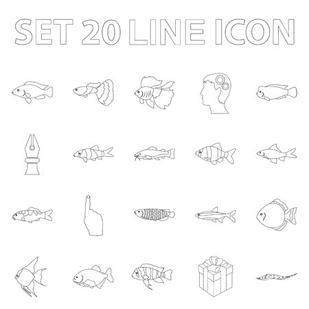Different types of fish outline icons in set collection for design. Marine and aquarium fish symbol stock web illustration. Illustration