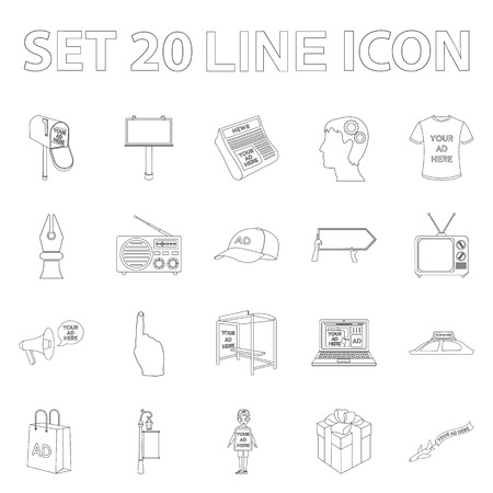 Production of advertising outline icons in set collection for design. Advertising equipment symbol stock web illustration.