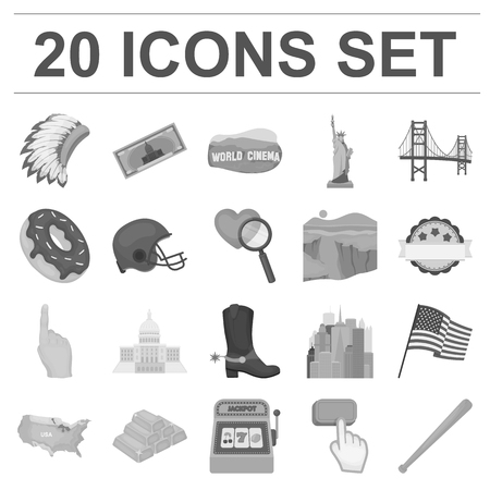 USA country monochrome icons in set collection for design.Travel and attractions symbol stock web illustration.