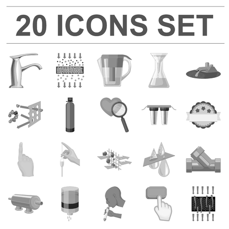 Water filtration system monochrome icons in set collection for design. Cleaning equipment symbol stock web illustration.
