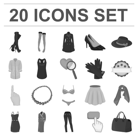 Womens Clothing monochrome icons in set collection for design.Clothing Varieties and Accessories symbol stock web illustration.