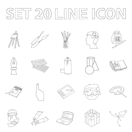 Painter and drawing outline icons in set collection for design. Artistic accessories symbol stock web illustration.