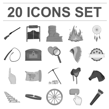 Attributes of the wild west monochrome icons in set collection for design.Texas and America symbol stock web illustration.