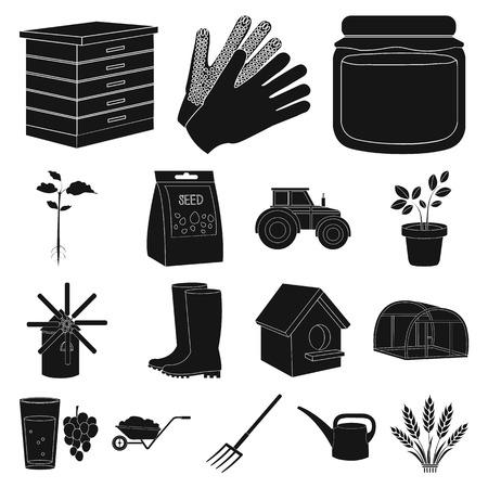 Gardening black icons set Stock Illustratie