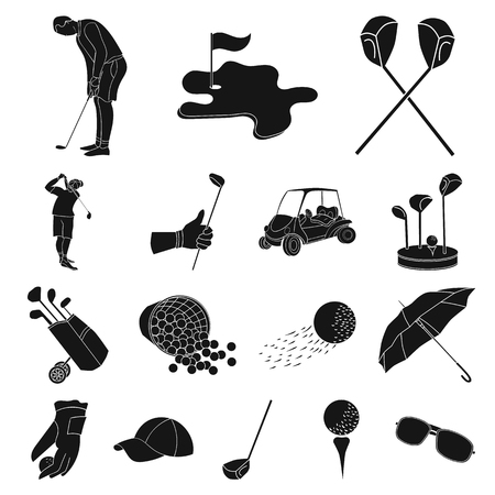 Golf and attributes black icons in set collection for design.Golf Club and equipment vector symbol stock web illustration.