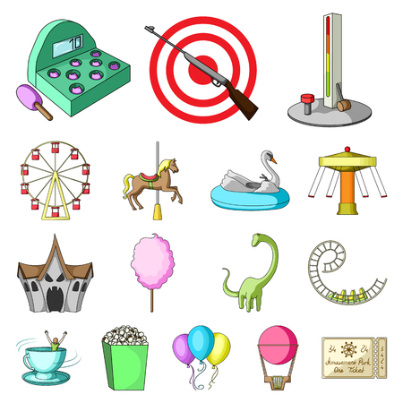Amusement park cartoon icons in set collection for design. Equipment and attractions vector symbol stock web illustration.