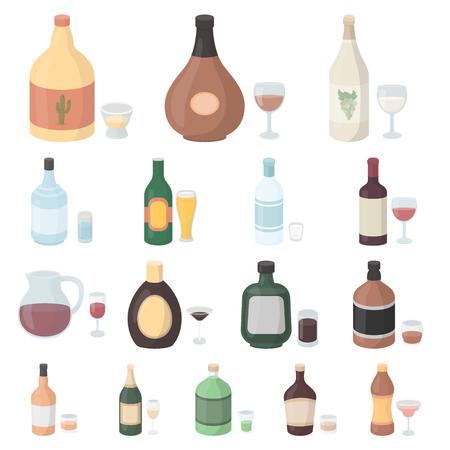Tipi di icone del fumetto dell'alcool nella raccolta dell'insieme per progettazione. L'alcool in bottiglie vector l'illustrazione di Web delle azione di simbolo.