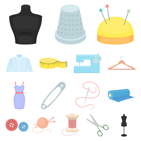 Atelier and sewing cartoon icons in set collection for design. Equipment and tools for sewing vector symbol stock web illustration.