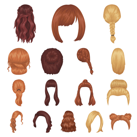 Female hairstyle cartoon icons in set collection for design. Stylish haircut vector symbol stock web illustration.