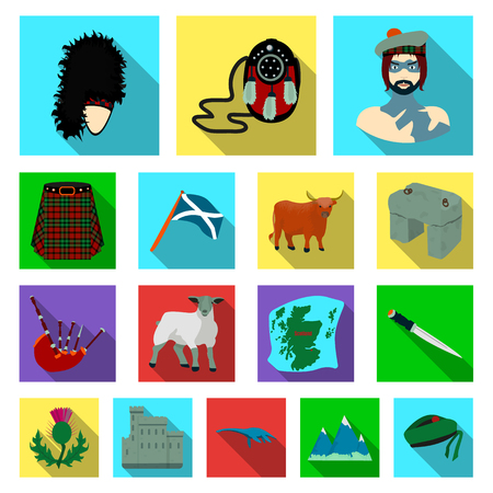 Country Scotland flat icons in set collection for design. Sightseeing, culture and tradition vector symbol stock web illustration.