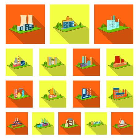 Fabriek en plant plat pictogrammen in set collectie voor design. Productie en onderneming vector isometrische symbool stock illustratie.
