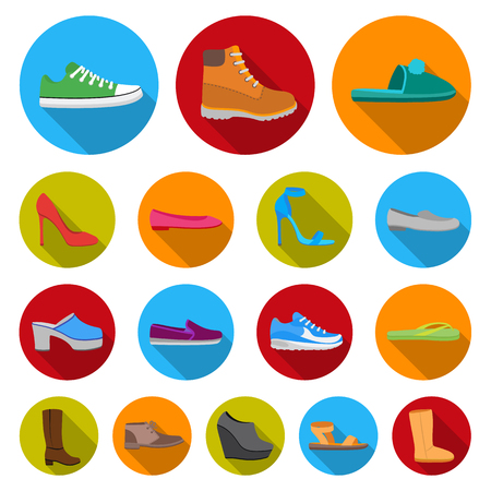 A variety of shoes flat icons in set collection for design. Boot, sneakers vector symbol stock  illustration.