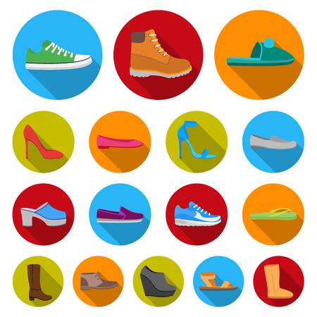 Una variedad de iconos planos de zapatos en la colección de conjunto para el diseño. Arranque, zapatillas de deporte vector ilustración stock símbolo.