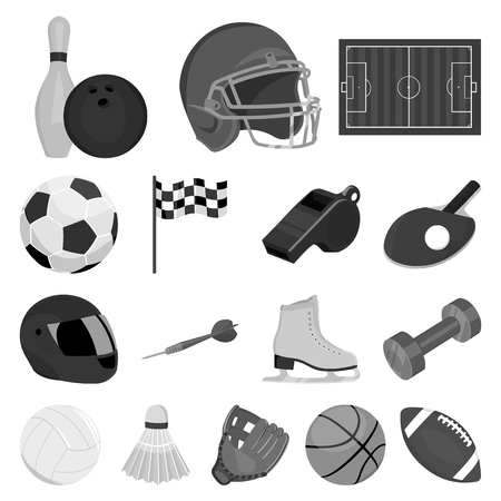 Different kinds of sports monochrome icons in set collection for design. Sport equipment vector symbol stock  illustration. Çizim