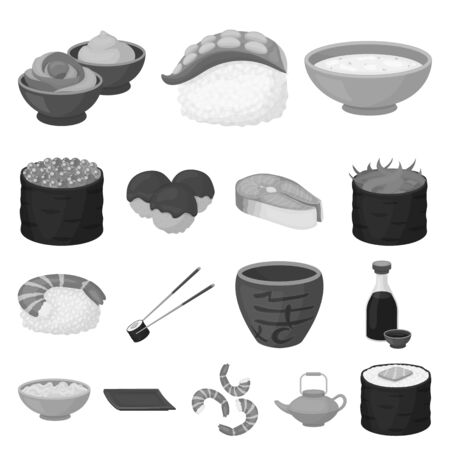 Sushi and seasoning monochrome icons in set collection for design. Seafood food, accessory vector symbol stock  illustration.