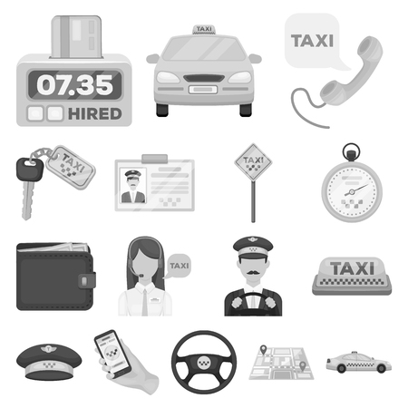 Taxi service monochrome icons in set collection for design. Taxi driver and transport vector symbol stock  illustration.