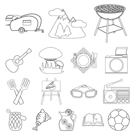 Picnic and equipment outline icons in set collection for design. Picnic in the nature vector symbol stock illustration.