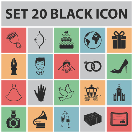 Wedding and Attributes black icons in set collection for design.Newlyweds and Accessories vector symbol stock  illustration. Illustration