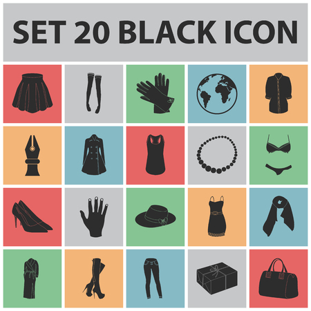 Womens Clothing black icons in set collection for design.Clothing Varieties and Accessories vector symbol stock  illustration.