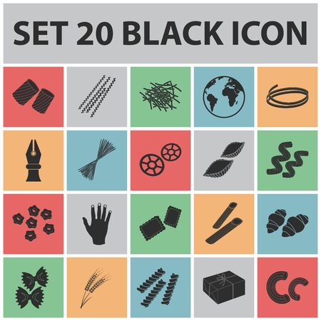 Types of pasta black icons in set collection for design. Figured macaroni for eating vector symbol stock  illustration. Illustration
