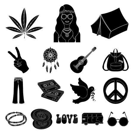 Happy and attribute black icons in set collection for design. Happy and accessories vector symbol stock web illustration.