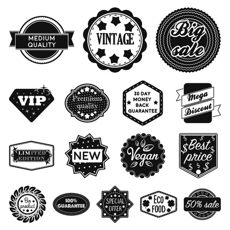 Different label black icons in set collection for design. Index and brand vector symbol stock web illustration. Ilustrace