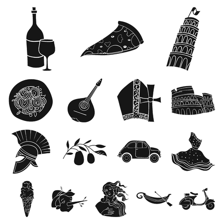 Country Italy black icons in set collection for design. Italy and landmark vector symbol stock web illustration.