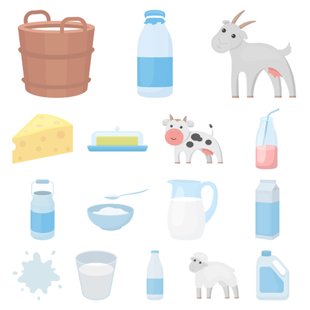 Milk product cartoon icons in set collection for design.Milk and food vector symbol stock web illustration. Illustration