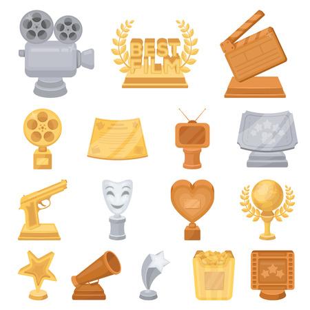 Filmprijzen en prijzen cartoon pictogrammen in set collectie voor ontwerp.