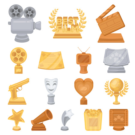 Film awards and prizes cartoon icons in set collection for design.