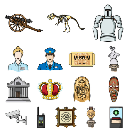 Museum and gallery cartoon icons in set collection for design. Storage and exhibition of showpiece vector symbol stock illustration. Illustration
