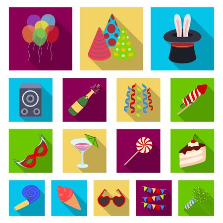 Party, entertainment flat icons in set collection for design. Celebration and treat vector symbol stock web illustration.