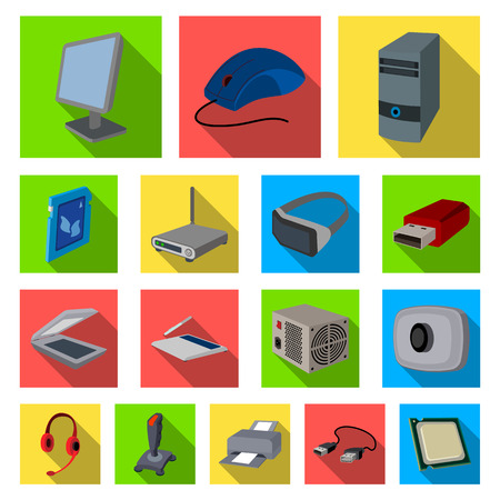 Personal computer flat icons in set collection for design.