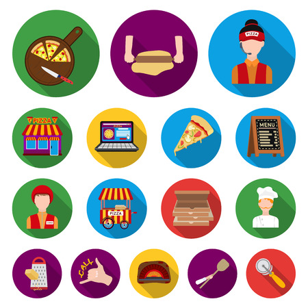 Pizza and pizzeria flat icons in set collection for design.